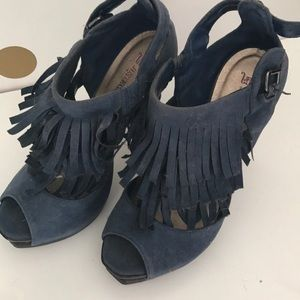 Denim fringe heels